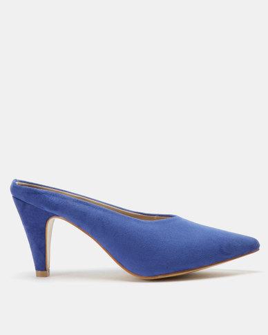 Utopia Pointy Kitten Heel Mules Blue