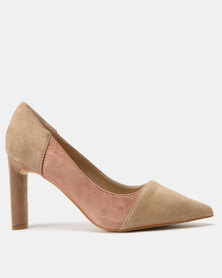 Utopia Colour Block Court Shoes Nude