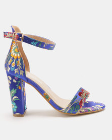 Utopia Satin Print Barely There Heels Blue