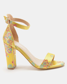 Utopia Satin Print Barely There Heels Yellow