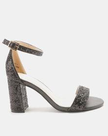 Utopia Glitter Block Heel Sandals Black