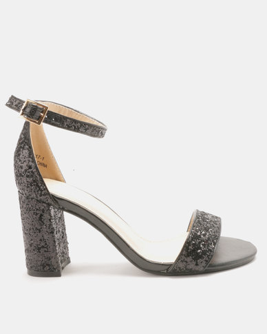 Utopia Glitter Block Heel Sandals Black