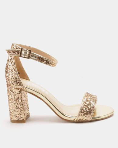 Utopia Glitter Block Heel Sandals Gold
