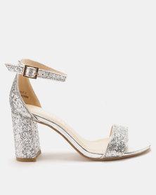 Utopia Glitter Block Heel Sandals Silver
