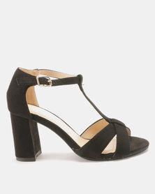 Utopia T Vamp Block Heel Sandals Black