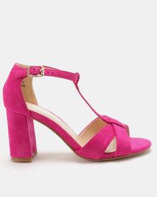Utopia T Vamp Block Heel Sandals Dark Pink