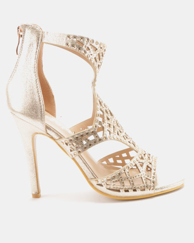 Utopia Embellished Heel Sandals Gold