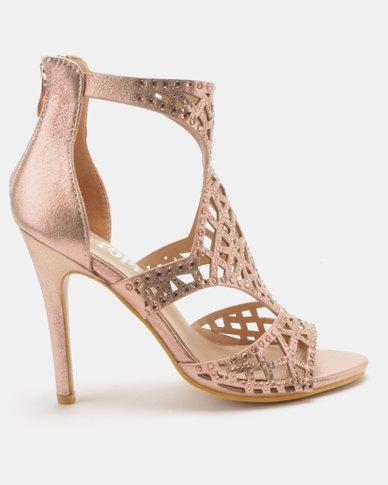 Utopia Embellished Heel Sandals Rose Gold
