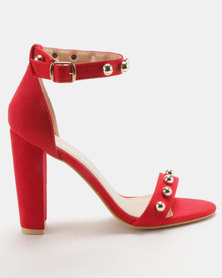 Utopia Gold Trim Block Heels Red