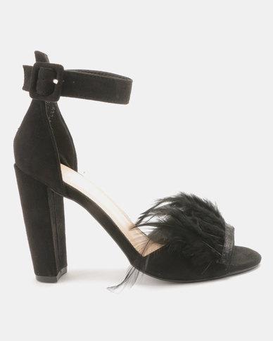 Utopia Feather Vamp Heel Sandals Black