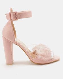 Utopia Feather Vamp Heel Sandals Pink