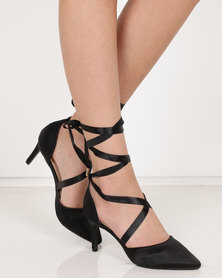 Utopia Satin Strap Pointy Court Heels Black