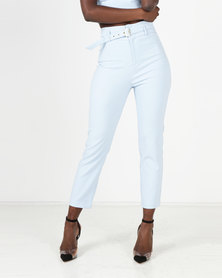 Sissy Boy Belted Suiting Trouser Pale Blue