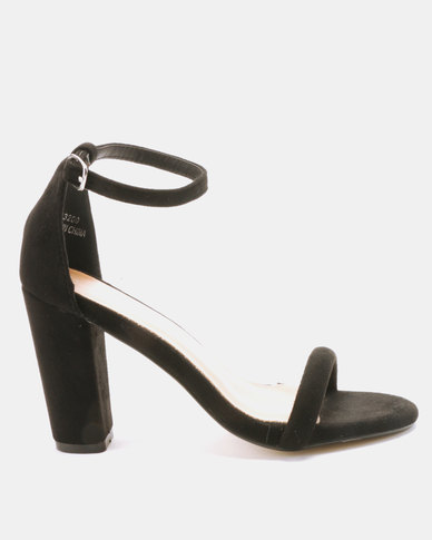 Utopia Block Heels Barely There Black