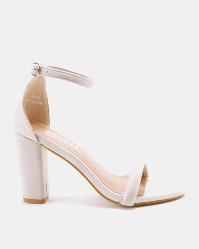 Utopia Block Heels Barely There Silver