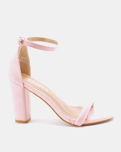Utopia Block Heels Barely There Pink