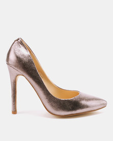 Utopia Metallic Pointy Court Heels Pewter