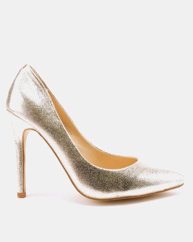 c94829f9720 Utopia Metallic Pointy Court Heels Light Gold