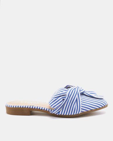 Utopia Candy Stripe Mules Blue