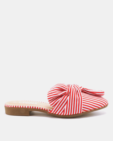 Utopia Candy Stripe Mules Red