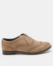 Utopia Ladies Brogue Lace Ups Taupe