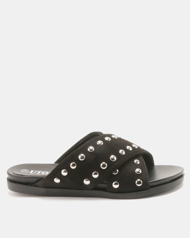 Utopia Studded Cross Strap Slides Black