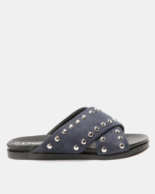 Utopia Studded Cross Strap Slides Navy