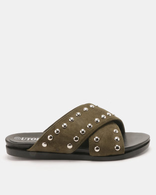 Utopia Studded Cross Strap Slides Olive