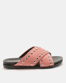 Utopia Studded Cross Strap Slides Pink