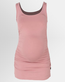 Cherry Melon Tank Top With Side Detail Deep Blush
