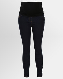 Cherry Melon Cropped Denim Pants Dark Wash