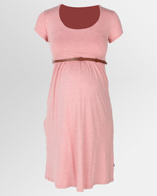 Cherry Melon Belted Scoop neck Dress with Cap Sleeve Coral Melange