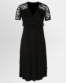Cherry Melon Lace Mock Wrap Dress Short Sleeve Black