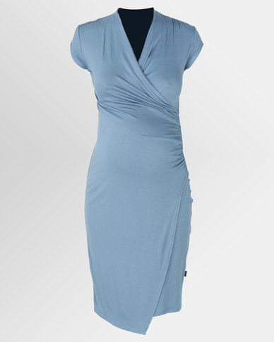 4a1150ecc00 Cherry Melon Cocktail Wrap Dress Dusty Blue