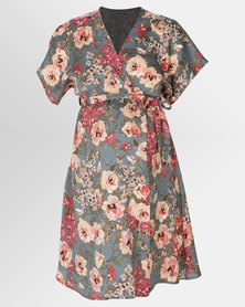 Cherry Melon Kimono Mock Wrap Dress Impressionist Floral