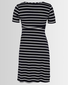 Cherry Melon Crossover Feeding Dress Short Sleeve Navy/White Stripe