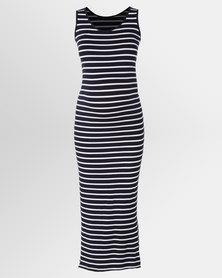Cherry Melon Maxi Tank Dress With Side Slit White/Navy Stripe
