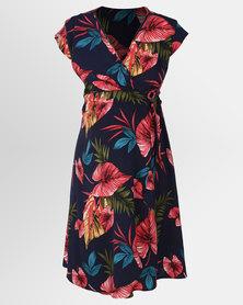 Cherry Melon Woven Crossover Dress Tahiti Print