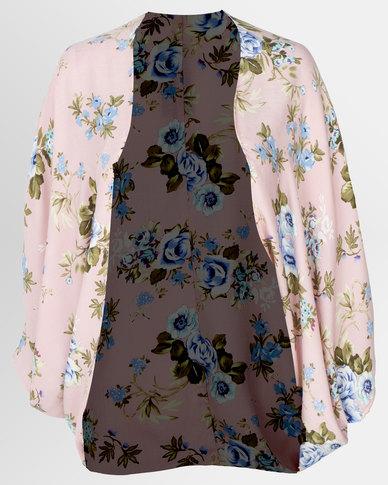 Cherry Melon Long Kimono Linen Look Floral