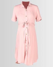 Cherry Melon Long Shirt Dress Rose