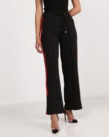 Brave Soul Wide Leg Pant With Side Stripe Black/Red