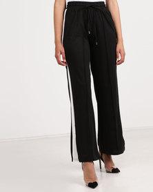 Brave Soul Wide Leg Pant With Side Stripe Black/White