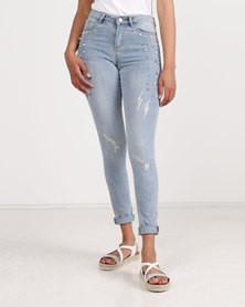 Brave Soul Jeans With Pearls And Silver Balls Light Blue