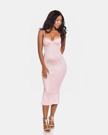 VADA Pink Curve Sculpting Evening Bustier Dress