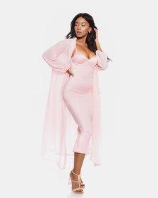 VADA Sheer Chiffon Coat Pink