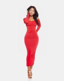 VADA Red Off The Shoulder  Evening Dress
