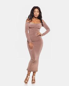 VADA Off The Shoulder Evening Dress Bronze