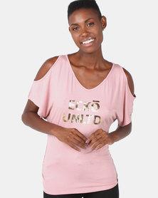 ECKÓ Unltd Cold Shoulder Top with Back Insert Pink