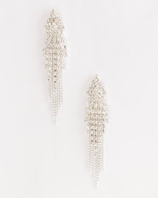Jewels and Lace Rhinestone Statement Earrings Silver