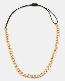 Jewels and Lace Chain Headband  Gold -Toned